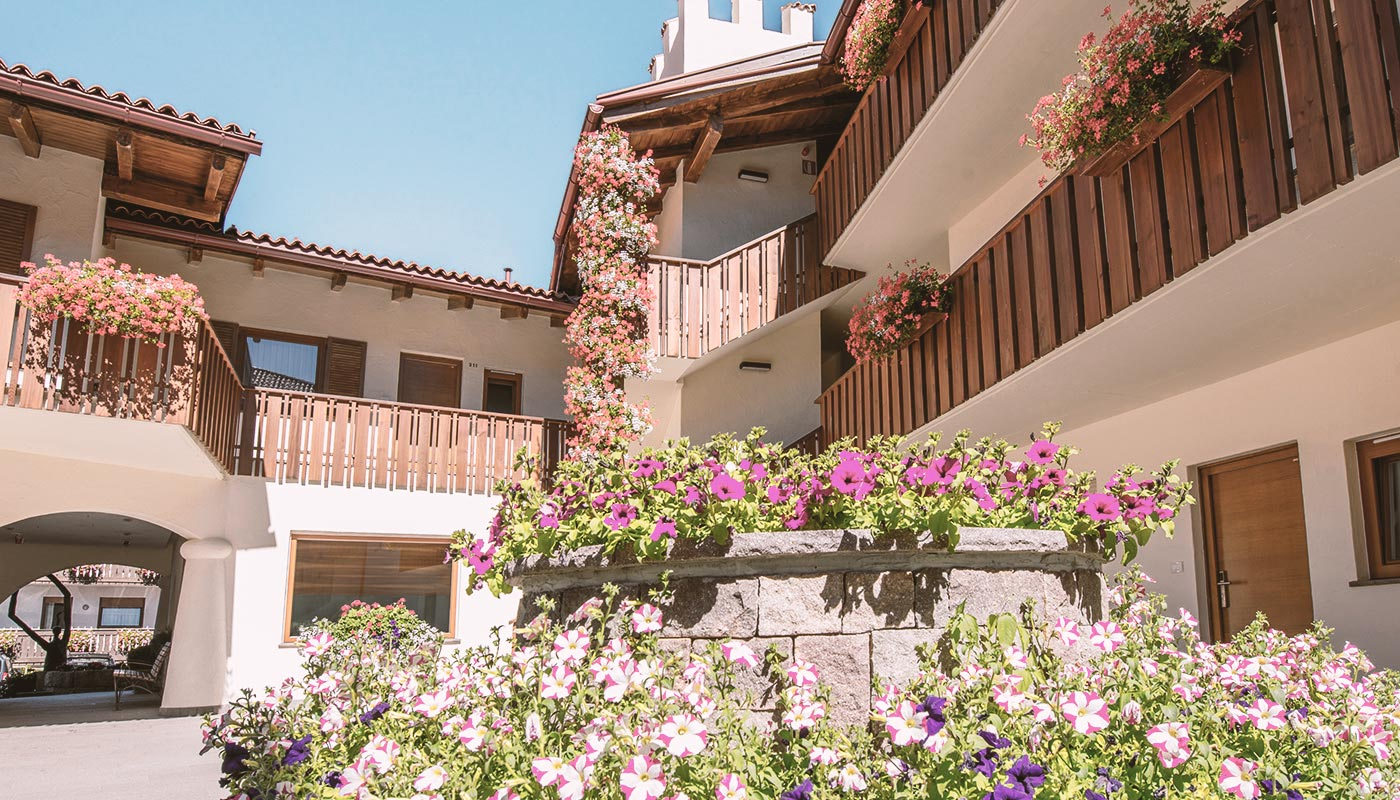 Inner courtyard in the hotel Kastel Seiser Alm in South Tyrol